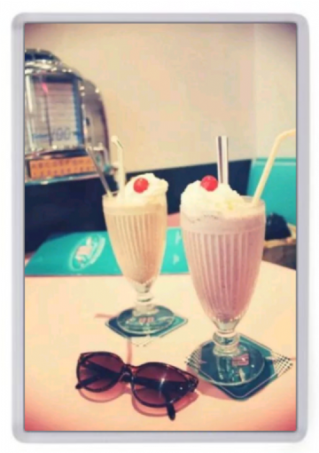 Milkshakes at the Diner Fridge Magnet. Retro Americana